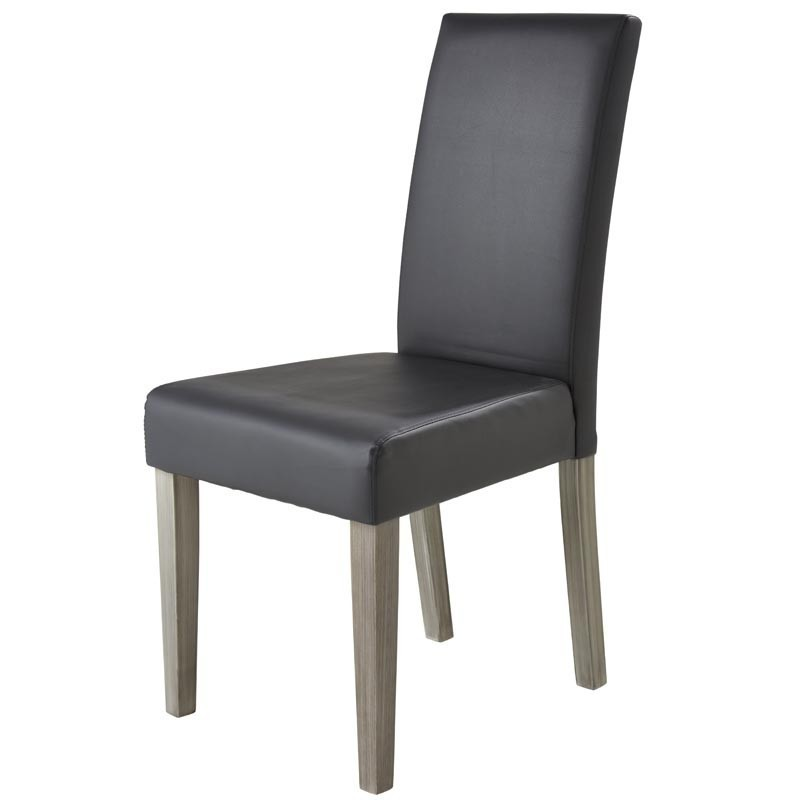 Pack 4 sillas salón Namur Gris Oscuro Poliuretano y Madera