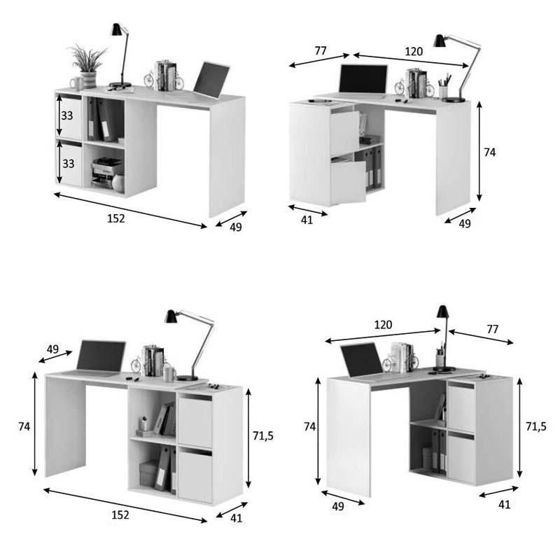 Escritorio varias posiciones color blanco artik 120-152x74x77-49 cm