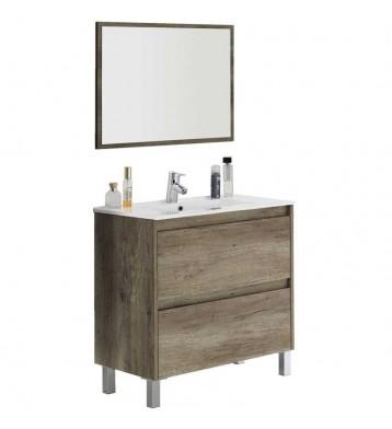 Mueble de baño con lavamanos y espejo, color Nordik