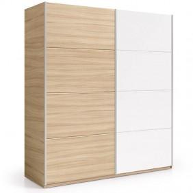 Armario 2 puertas correderas color nature y blanco 180x63x200 cm