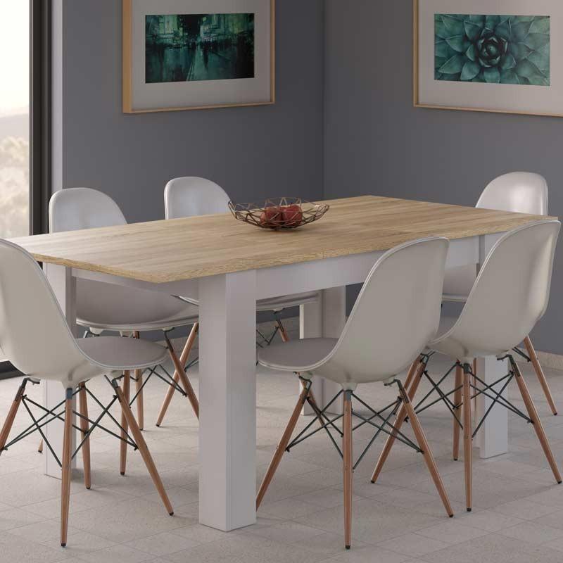 Mesa comedor extensible color blanco y roble 140-190 cm