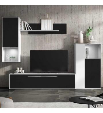 Mueble Modular Salón Comedor Blanco y Negro 250x210x40 cm