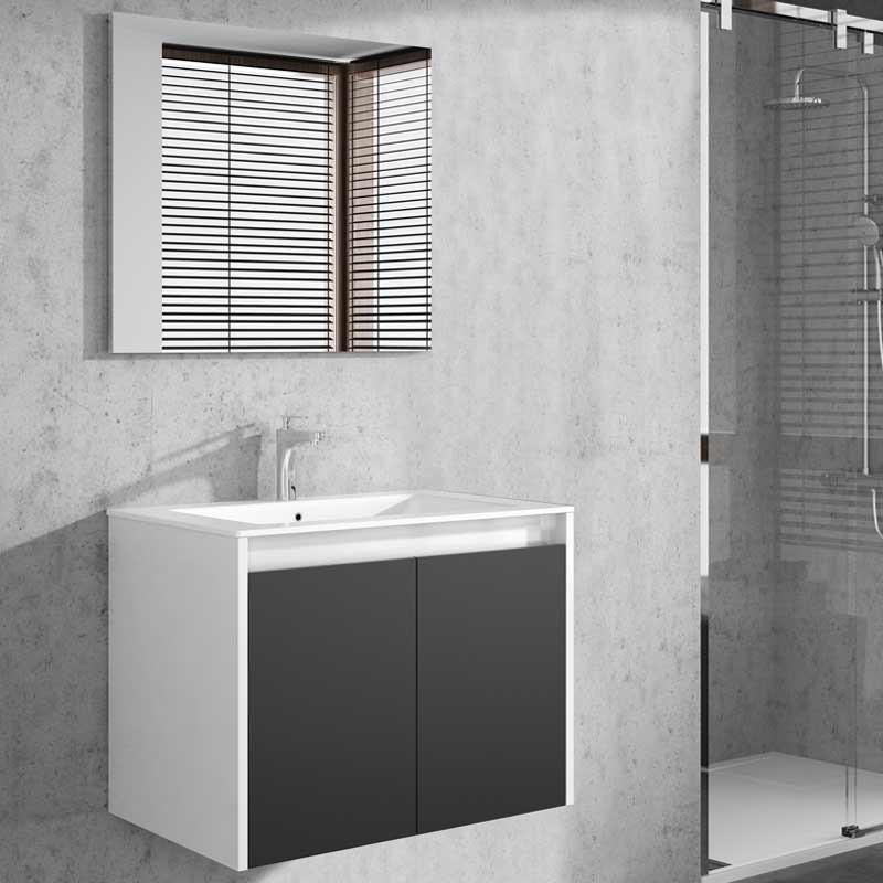 Mueble baño colgante Due con espejo blanco brillo y gris 80x45x48 cm LAVAMANOS OPCIONAL