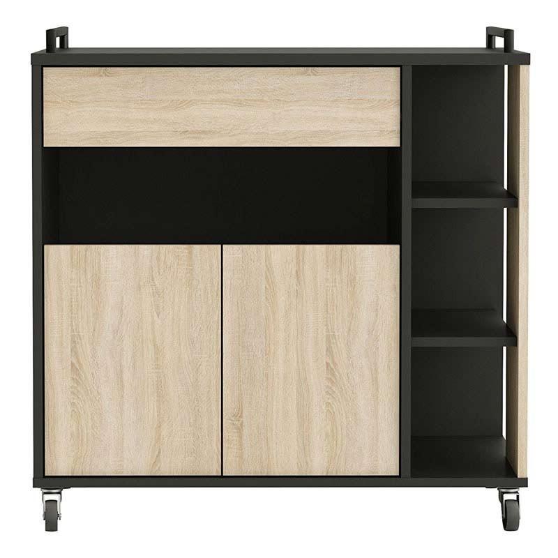 Mueble auxiliar Microondas roble negro 80x76,5