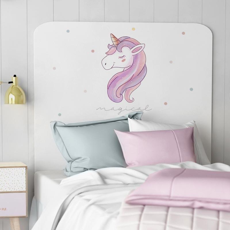 Cabezal infantil Unicorn impresión decorativa 110x90 cm