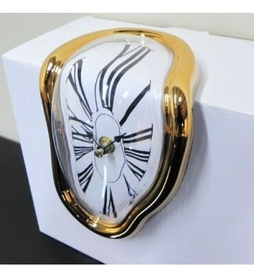 """Reloj """"Dalí"""" Oro para estantería."""