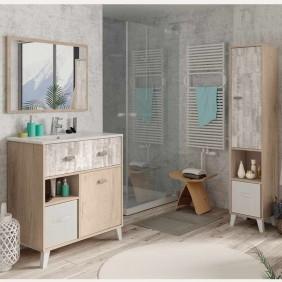Pack mueble baño con lavamanos pmma + espejo + columna baño color cambrian y pino