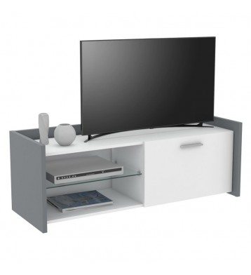 Mueble TV Plume color blanco y gris 121x42x43 cm