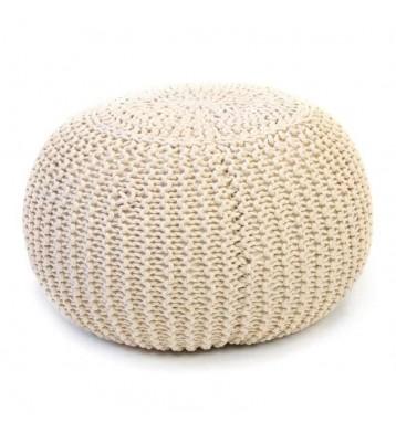 Puff redondo trenzado color beige crochet