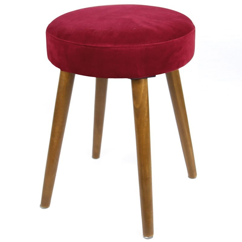 Taburete Velvet Rojo pata madera terciopelo 49x36 cm