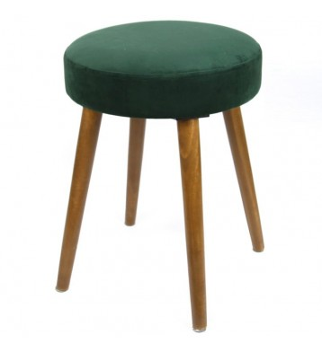 Taburete Velvet verde asiento terciopelo pata madera 49x36 cm