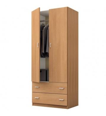 Armario dormitorio color cerezo 2 puertas 2 cajones 74x51x180 cm