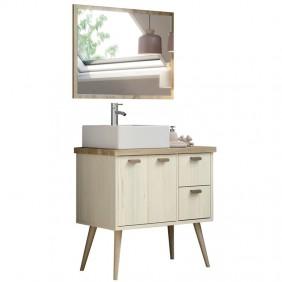 Mueble baño nórdico vintage con lavabo y espejo 80x46x93
