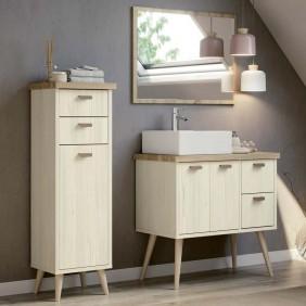 Pack muebles baño Lya nórdico vintage con espejo y lavabo
