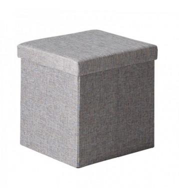 Pouf cuadrado almacenaje gris 40x40x41