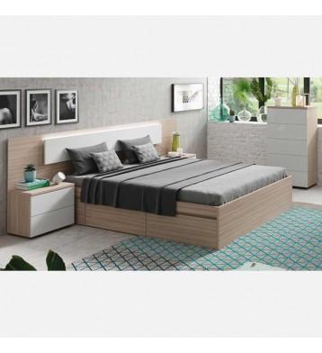 Pack dormitorio cama+cabezal LED con mesitas+cómoda nature y blanco