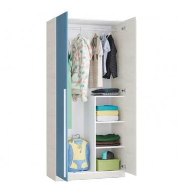 Armario Wic color Azul 2 puertas juvenil infantil 90x200 cm