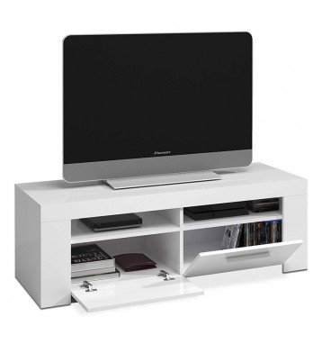 Mesa de TV de 120 cm blanco brillo puertas abatibles