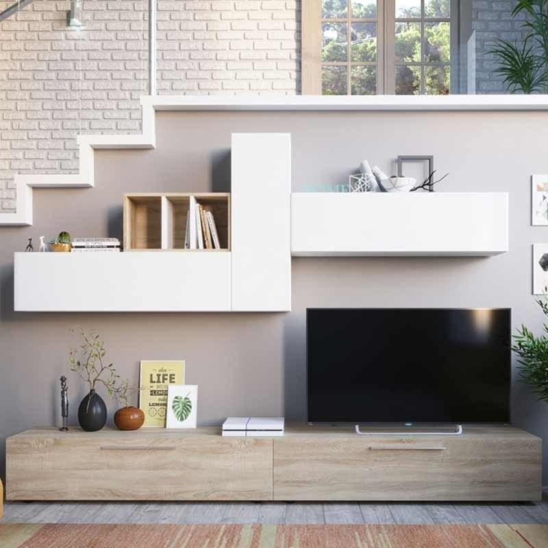 Mueble sal n comedor moderno blanco y roble 260 cm - Comedor salon moderno ...