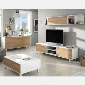 Mueble salón blanco y roble pack completo muebles