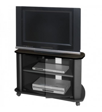 Mueble TV negro puerta cristal 1 estante 92x55 cm