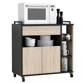 Mueble auxiliar Microondas roble negro 80x77