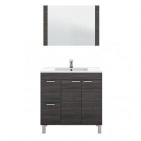Armario de baño con espejo para colgar y lavamanos (opcional) gris ceniza