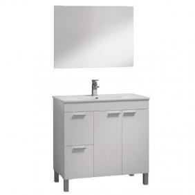 Mueble con lavamanos (opcional) para tu baño con espejo Sabela 80x45 Blanco Brillo