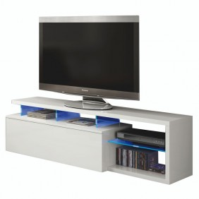 Mesa TV LED 150cm blanco brillo
