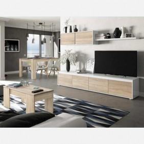 Muebles para salón comedor color blanco y roble canadian